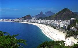 Бразилия, Рио-де-Жанейро, город, здания, пляж, люди, море