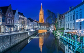 Bruges, Belgium, church, night, lights, river, houses