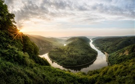 Preview wallpaper Canyon, sunrise, fog, trees, river, morning, Saar loop, Germany