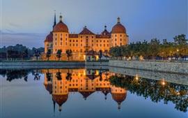 Castle, lake, water reflection, dusk, Moritzburg, Germany