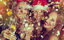 Champagne, happy girls, Merry Christmas