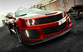 Chevrolet Camaro rojo supercar vista frontal