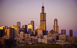 Чикаго, город, небоскребы, закат, США