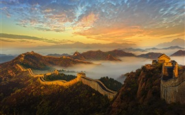 China, Great Wall, mountains, fog, history, architecture, dawn