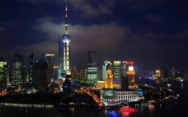 Preview wallpaper China Shanghai, The Oriental Pearl Tower, skyscrapers, river, night, lights