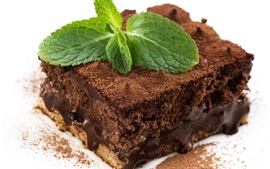 Preview wallpaper Chocolate cake, mint