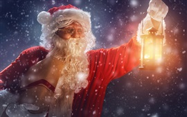 Christmas, Santa Claus, gifts, snow, lantern
