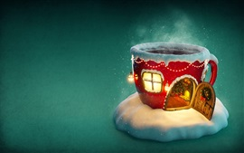 Preview wallpaper Christmas, cup house, snow, lights, creative picture