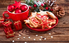 Preview wallpaper Christmas, decoration, cookies, gifts, cup, balls