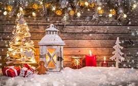 Preview wallpaper Christmas decoration, lantern, candles, lights, tree, snow, wooden board