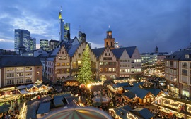 Christmas, houses, night, lights, people, market, Europe