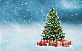 Preview wallpaper Christmas tree, gifts, snowflakes, winter, snow