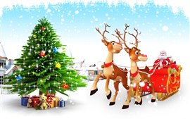 Preview wallpaper Christmas tree, gifts, toys, snow, Santa Claus, sleigh, deer
