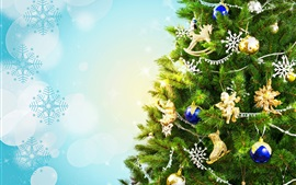 Preview wallpaper Christmas tree, holiday, decoration, toys, balls, snowflakes