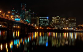 City at night, houses, lights, river, bridge, illumination, Portland, USA
