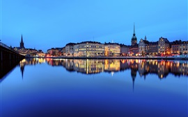 Preview wallpaper City night, river, water reflection, houses, lights, Stockholm, Sweden