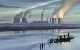 Preview wallpaper City, thermal power plant, pipe buildings, smoke, river