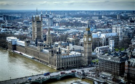 City view, houses, Big Ben, bridge, Thames, England, London