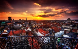 Copenhagen, Denmark, city, buildings, houses, sunset, clouds