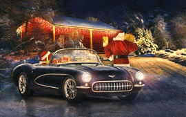 Preview wallpaper Corvette classic car, winter, snow, lights, New Year, Christmas