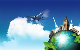 Preview wallpaper Creative pictures, journey to the world, plane, earth
