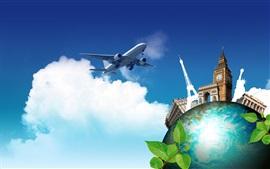 クリエイティブな写真、世界への旅、飛行機、地球