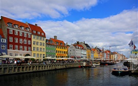 Denmark, river, houses, city