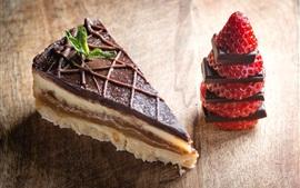 미리보기 배경 화면 디저트, 케이크, 초콜릿, 딸기
