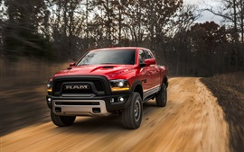 Preview wallpaper Dodge Ram 1500 red pickup speed