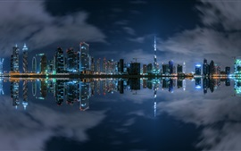Dubai, night, skyscrapers, river, lights, water reflection