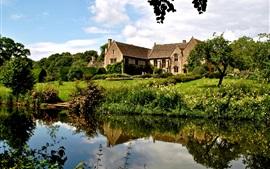 Inglaterra, arbustos, mansão, casa, árvores, capim, rio