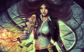 Preview wallpaper Fantasy girl, cyborg, detective, hair