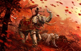 Preview wallpaper Far Cry 4, tiger, archer, elephant