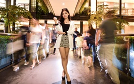 Fashion Asian girl, pose, city, street