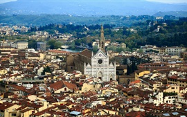 Preview wallpaper Florence, Italy, mountains, houses, trees, city
