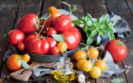 Preview wallpaper Fresh tomatoes, vegetable, oil, mint