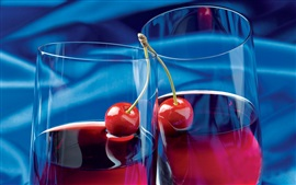 Fruit juice, cherry, glass cups