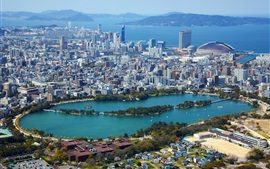 Preview wallpaper Fukuoka, Japan, city, houses, lake, park, sea