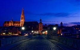 Germany, Bayern, Regensburg, city night, bridge, houses, lights