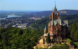 Alemanha, dragão, castelo, cidade, árvores, montanhas