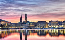 Preview wallpaper Germany, Hamburg, buildings, lights, evening, river, boats, water reflection, sunset