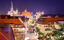 Preview wallpaper Germany, Nuremberg, city, street, houses, lights, night