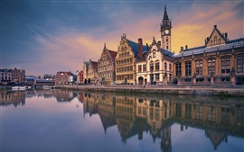 Preview wallpaper Ghent, Belgium, river, houses, dusk