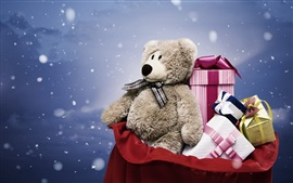 Preview wallpaper Gift, toy bear, boxes