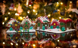 Gingerbread houses, food, lights, Christmas