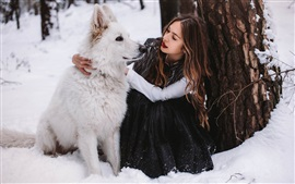 Preview wallpaper Girl and white dog in winter
