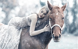 Preview wallpaper Girl riding a horse sleep, winter, snow