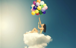 Girl sitting on clouds, colorful balloons, creative design