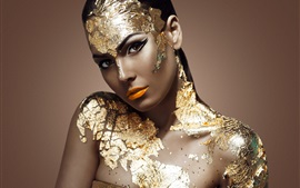 Golden dress girl, model, makeup