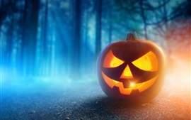 Preview wallpaper Halloween, pumpkin lantern, face, night, trees